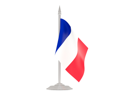 flagpoles: Flag of mayotte  with flagpole isolated on white. 3d render Stock Photo