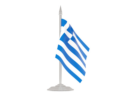 flagpole: Flag of greece  with flagpole isolated on white. 3d render
