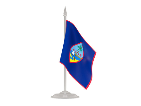 flagpoles: Flag of guam  with flagpole isolated on white. 3d render Stock Photo