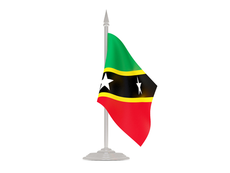 flagpole: Flag of saint kitts and nevis  with flagpole isolated on white. 3d render