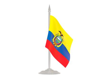 flagpoles: Flag of ecuador  with flagpole isolated on white. 3d render Stock Photo