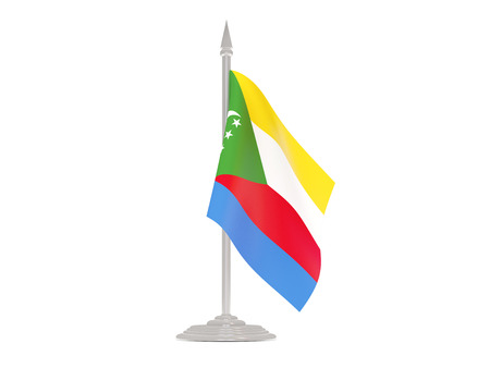 comoros: Flag of comoros  with flagpole isolated on white. 3d render