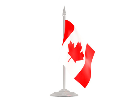 flagpole: Flag of canada  with flagpole isolated on white. 3d render Stock Photo