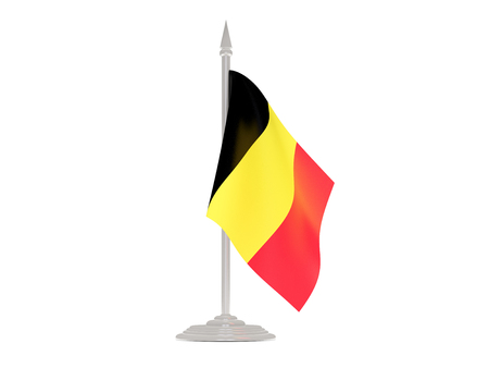 flagpole: Flag of belgium  with flagpole isolated on white. 3d render