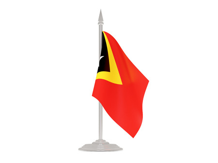 flagpole: Flag of east timor  with flagpole isolated on white. 3d render Stock Photo