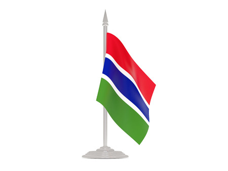 flagpole: Flag of gambia  with flagpole isolated on white. 3d render