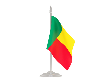 flagpole: Flag of benin  with flagpole isolated on white. 3d render