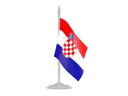 flagpole: Flag of croatia  with flagpole isolated on white. 3d render Stock Photo