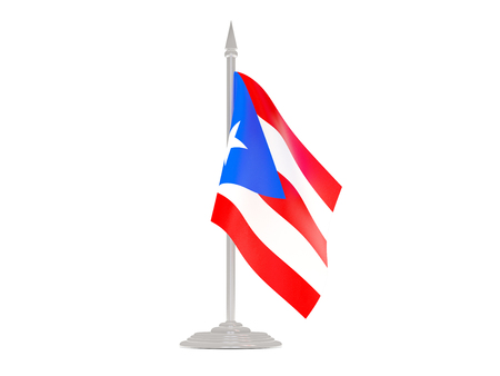 bandera de puerto rico: Flag of puerto rico  with flagpole isolated on white. 3d render