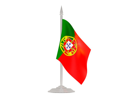 flagpole: Flag of portugal  with flagpole isolated on white. 3d render Stock Photo