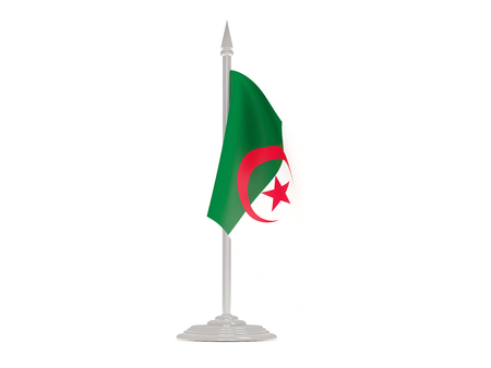 flagpoles: Flag of algeria  with flagpole isolated on white. 3d render
