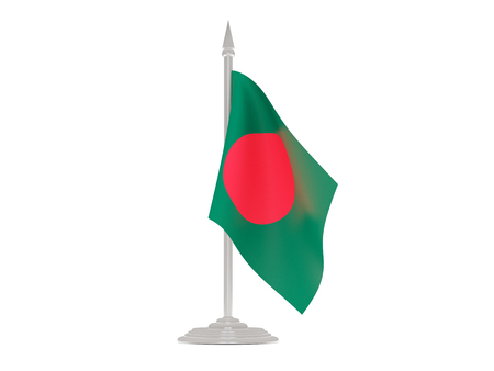 bangladesh 3d: Flag of bangladesh  with flagpole isolated on white. 3d render