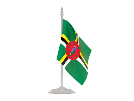 flagpole: Flag of dominica  with flagpole isolated on white. 3d render Stock Photo