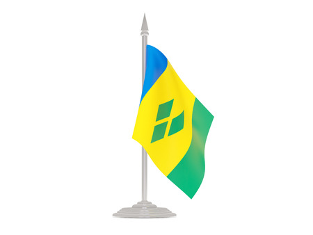 grenadines: Flag of saint vincent and the grenadines  with flagpole isolated on white. 3d render
