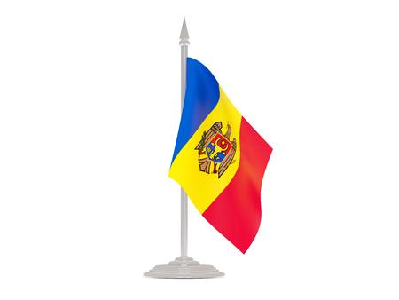 flagpoles: Flag of moldova  with flagpole isolated on white. 3d render