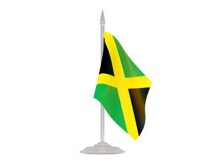 flagpole: Flag of jamaica  with flagpole isolated on white. 3d render