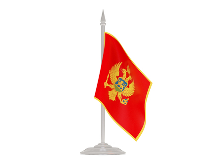 flutter: Flag of montenegro  with flagpole isolated on white. 3d render
