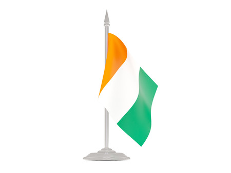 cote ivoire: Flag of cote d Ivoire  with flagpole isolated on white. 3d render