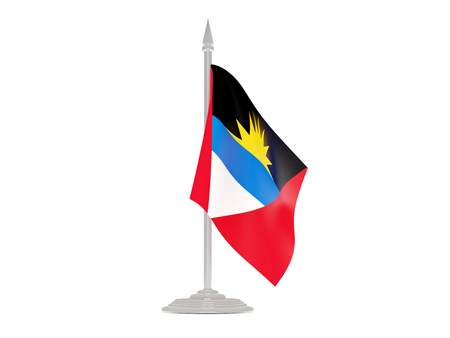 flagpole: Flag of antigua and barbuda  with flagpole isolated on white. 3d render