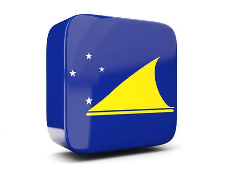 tokelau: Square icon with flag of tokelau square isolated on white. 3D illustration Stock Photo
