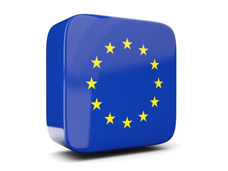 白で隔離欧州連合正方形の旗の正方形のアイコン。3 D イラストレーション 写真素材