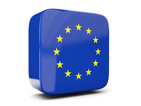 Square icon with flag of european union square isolated on white. 3D illustration Фото со стока