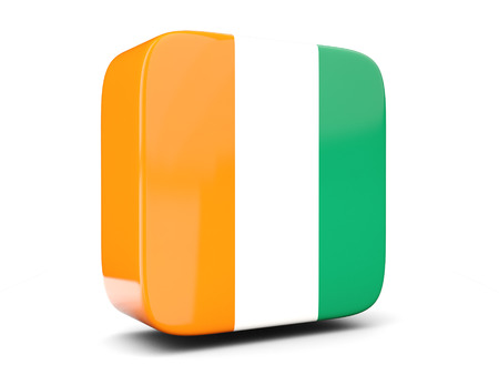 cote ivoire: Square icon with flag of cote d Ivoire square isolated on white. 3D illustration