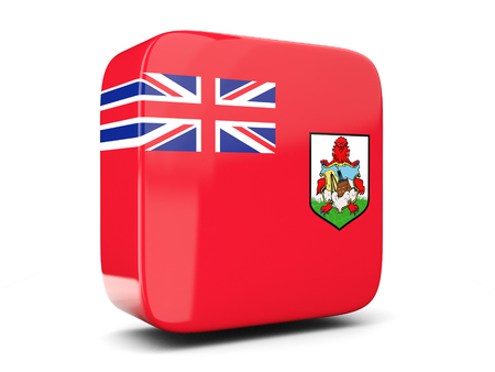 bermuda: Square icon with flag of bermuda square isolated on white. 3D illustration Stock Photo