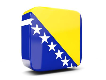 herzegovina: Square icon with flag of bosnia and herzegovina square isolated on white. 3D illustration