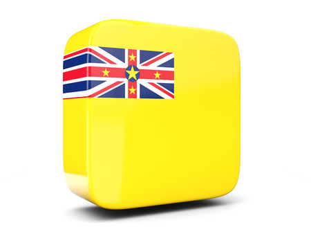 niue: Square icon with flag of niue square isolated on white. 3D illustration