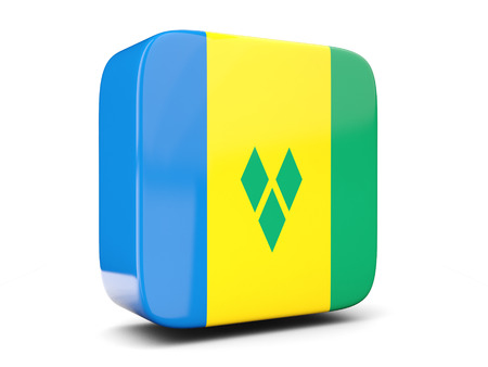 grenadines: Square icon with flag of saint vincent and the grenadines square isolated on white. 3D illustration