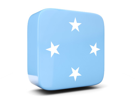 micronesia: Square icon with flag of micronesia square isolated on white. 3D illustration Stock Photo