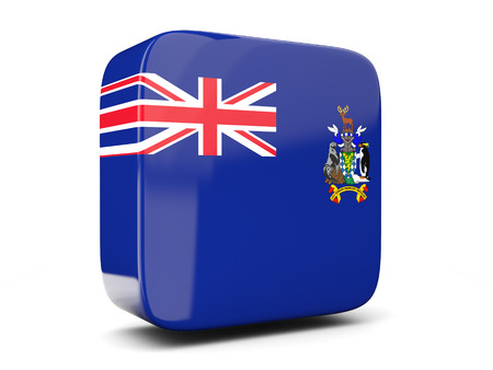 south georgia: Square icon with flag of south georgia and the south sandwich islands square isolated on white. 3D illustration