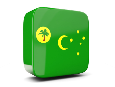 Square icon with flag of cocos islands square isolated on white. 3D illustration