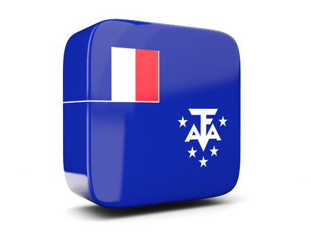 french flag: Square icon with flag of french southern territories square isolated on white. 3D illustration