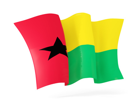 guinea bissau: Waving flag of guinea bissau isolated on white. 3D illustration