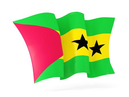 principe: Ondeando la bandera de Santo Tomé y Príncipe aislado en blanco. ilustración 3D