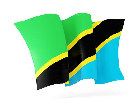 tanzania: Waving flag of tanzania isolated on white. 3D illustration Stock Photo