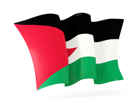 palestinian: Waving flag of palestinian territory isolated on white. 3D illustration Stock Photo