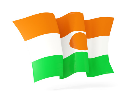 niger: Waving flag of niger isolated on white. 3D illustration