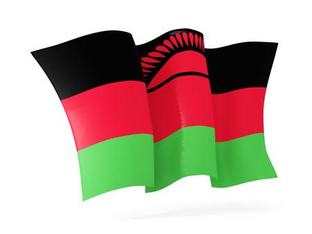 malawi: Waving flag of malawi isolated on white. 3D illustration