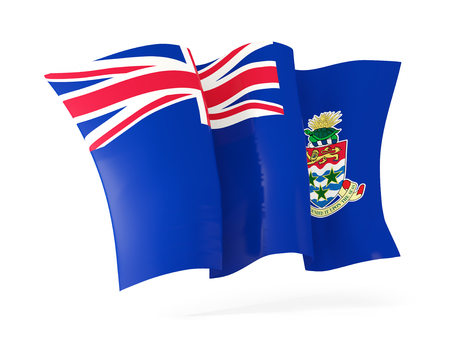 cayman islands: Waving flag of cayman islands isolated on white. 3D illustration Stock Photo