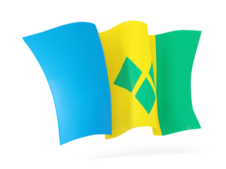 grenadines: Waving flag of saint vincent and the grenadines isolated on white. 3D illustration