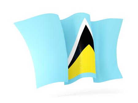 saint lucia: Waving flag of saint lucia isolated on white. 3D illustration