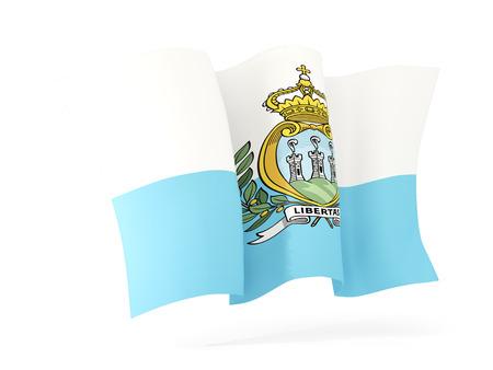 san marino: Waving flag of san marino isolated on white. 3D illustration