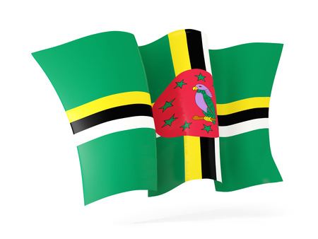dominica: Waving flag of dominica isolated on white. 3D illustration Stock Photo