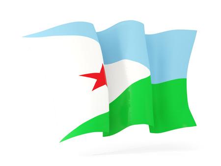 djibouti: Waving flag of djibouti isolated on white. 3D illustration