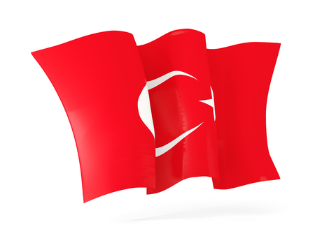 flutter: Waving flag of turkey isolated on white. 3D illustration Stock Photo