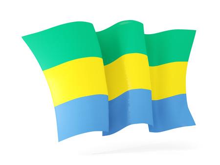 gabon: Waving flag of gabon isolated on white. 3D illustration