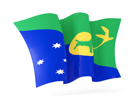 flutter: Waving flag of christmas island isolated on white. 3D illustration